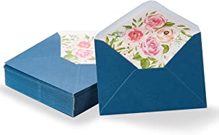 Paper Junkie 50-Pack A1 Blue Special Occasion Invitation Envelopes for 3x5 Invites with Watercolor Floral Lining for Wedding, Graduation, Birthday, 120gsm, 3 5/8 x 5 1/8 Inches