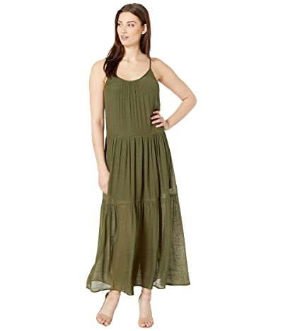 American Rose Mila Spaghetti Strap Maxi Dress (Dark Olive) Women