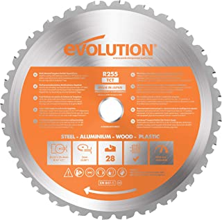 Evolution Power Tools - Hoja de sierra multiuso con punta de acero de carburo RAGE, 255 mm