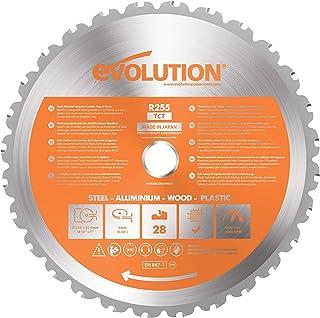 Evolution Power Tools - Hoja de sierra multiuso con punta de acero de carburo RAGE, 255 mm