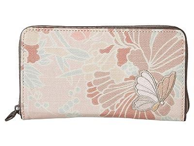 Sakroots Artist Circle Large Zip Around Wallet (Petal Pink Flower Blossom) Wallet Handbags