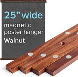 """25"""" Wide Magnetic Poster Frame Hanger in Walnut – Solid Wood and Magnets Strong Enough to Hang Any Length"""