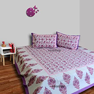 Traditional Mafia Floral Vine-00% Pure Cotton Printed Double Bedsheet with 2 Pillow Covers, King Size, King, Pink/Purple