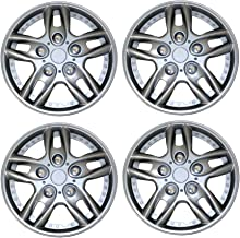 TuningPros WSC3-515S15 4pcs Set Snap-On Type (Pop-On) 15-Inches Metallic Silver Hubcaps Wheel Cover