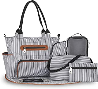 Diaper Bag – Multifunctional Baby Diaper Bag – Versatile Baby Bag with Changing Pad, Bottle Bag and Clothing Bag – Diaper Bag Organizer for Baby Travel Essentials – Chic Striped Design
