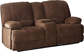 Christies Home Living Kevin-II-Brown-CRL Kevin Fabric Contemporary Reclining Loveseat with Storage Console, Brown