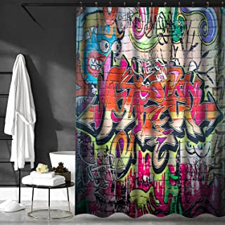 VVA Fabric Shower Curtain with Hooks for Bathroom Waterproof,Machine Washable,Breathable,72x72 inch,Rustic Home Decor Graffiti on Wall Urban Street Art with Spray Paint Tagger Underground Theme Multi