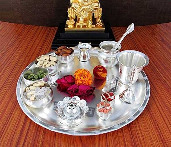 Nobility Silver Plated Pooja Thali Set Classic Occasional Gift Puja Thali Decorative Wedding Return Gift Size 12 Inch