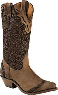 Boulet Women's Fancy Hand Tooled Inlay Cowgirl Boot Snip Toe