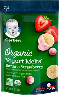 Gerber Organic Yogurt Melts Fruit Snacks, Banana & Strawberry, 1 Ounce (Pack of 7)