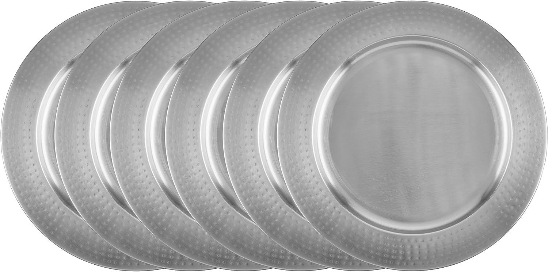 Old Dutch 13  Brushed Nickel Charger Plates - Hammered Rim, Set of 6
