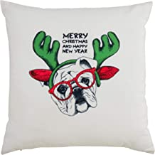 """Saro Lifestyle Hipster Holiday Collection Christmas Bulldog Poly Filled Pillow, 18"""", White"""