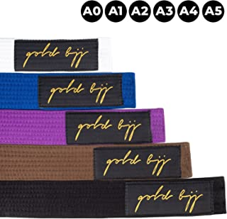 Gold BJJ Jiu Jitsu Belt - Premium Heavyweight IBJJF Legal Belts - White, Blue, Purple, Brown, Black - A0, A1, A2, A3, A4, A5 - Rank Bar for Stripes