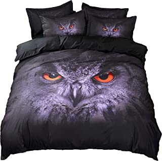 Anjos Wild Owl Fashion Style Animals 3D Digital Printing Polyester Fabric Bedding Set 3Pc Duvet Cover Pillowcases Queen Size 78