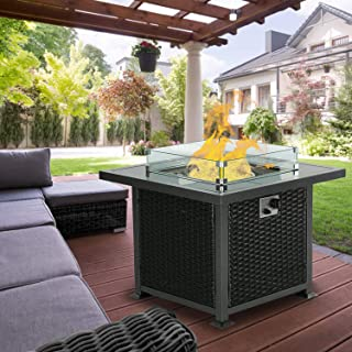Aoxun Outdoor Propane Fire Pit Table - 32 Inch 50,000 BTU Gas Fire Pit Table for Garden,Courtyard, Balcony, Terrace and Barbecue w/Glass Wind Guard, Clear Glass Rocks - Black
