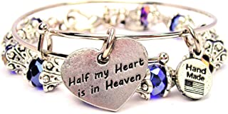Chubby Chico Charms 2 Piece Set Half My Heart is in Heaven Bangle Bracelet Collection