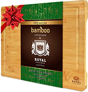EXTRA LARGE Organic Bamboo Cutting Board with Juice Groove - Best Kitchen Chopping Board for Meat (Butcher Block) Cheese a...