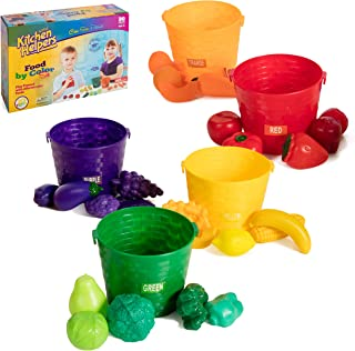 IQ Toys 30 Piece Color by Food Sorting Set with 5 Color Coded Buckets. Complete Pretend Play and Learning Set