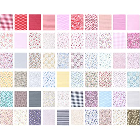 VORCOOL 60pcs Cotton Squares Quilting Sewing Floral Precut Fabric Sheets for Patchwork
