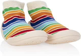 Nuby Snekz Comfortable Rubber Sole Sock Shoes for First Steps- Multi Color Stripes/Medium 14-22 Months