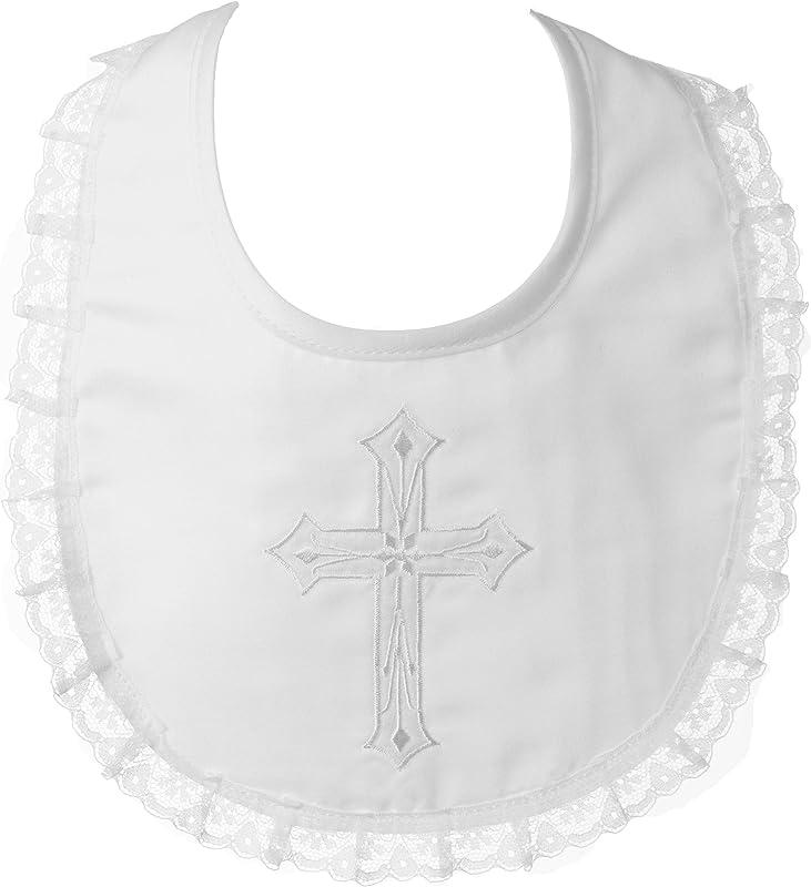 Lauren Madison Baby Girl Christening Baptism Infant Embroidered Cross Bib