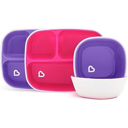 Munchkin Splash - Assiette à 3 compartiments et bol, rose/violet, 4 pièces