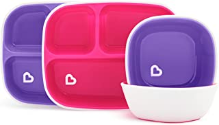 Munchkin Splash 4 Piece Toddler Divided Plate and Bowl Dining Set, Pink/Purple