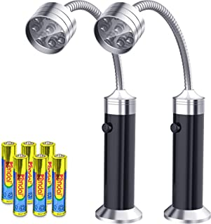 FIREOR Barbecue Grill Light Magnetic Base Super-Bright LED BBQ Lights - 360 Degree Flexible Gooseneck, Weather Resistant, Batteries Included - Pack of 2
