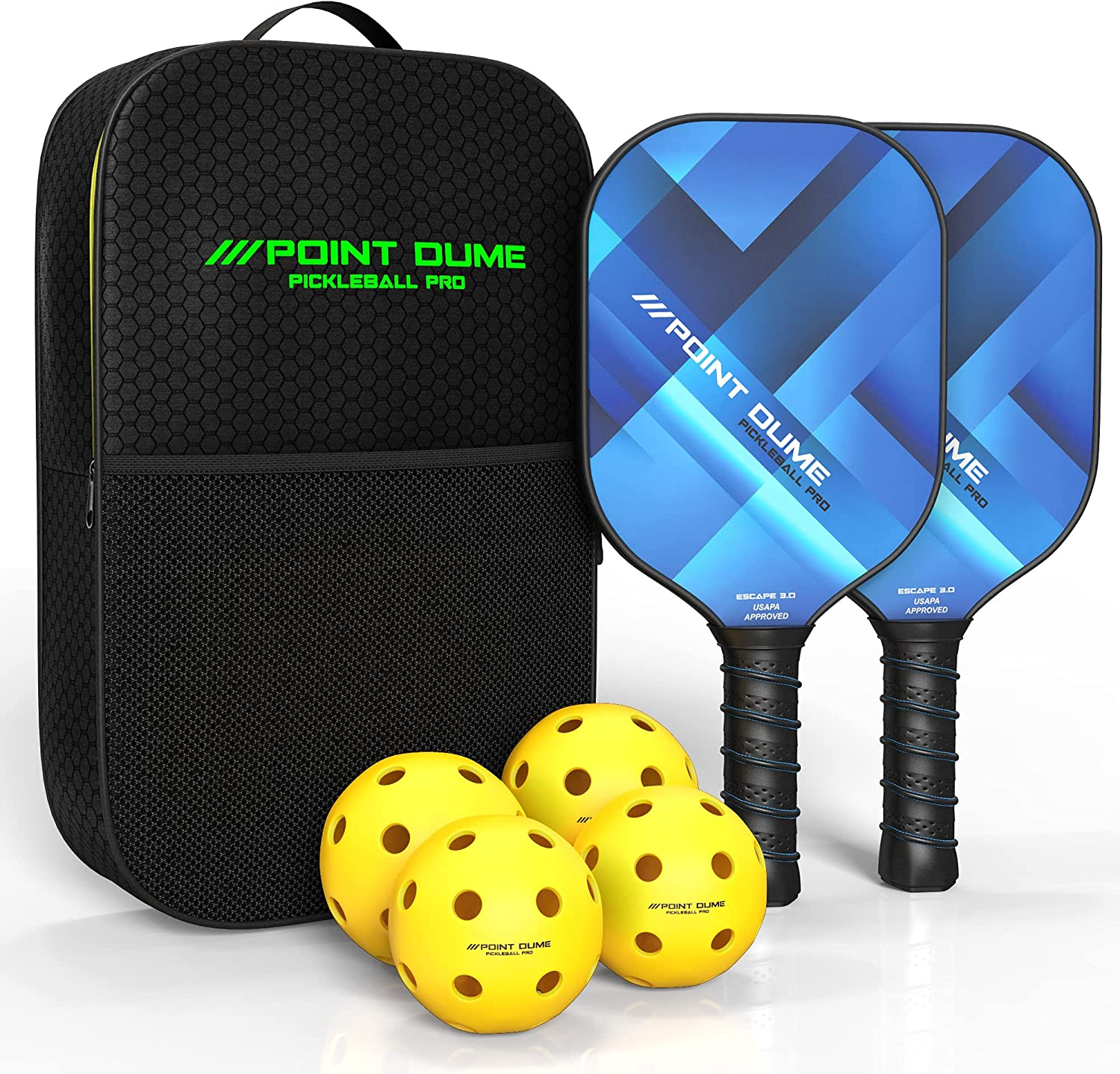 Point Dume Pickleball Paddle Trust Genuine Set with 4 Balls 2 Paddles a Carbon