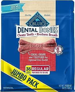 Blue Buffalo Dental Bones Natural Adult Dental Chew Dog Treat Regular 36-oz bag Super Value Pack