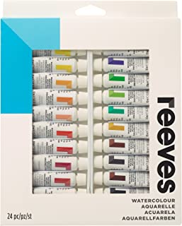 Reeves Watercolor Paint 10ml Tubes, Set of 24, Water Colour