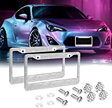 License Plate Frame for Women, Car Exterior Accessories, 2 Pack Handcrafted Crystal Premium Stainless Steel Bling License Plate Covers