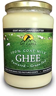 MT. CAPRA SINCE 1928 Goat Milk Ghee | Grass Fed Clarified Butter High in MCT Oil Perfect for Bulletproof Coffee, Keto, Paleo, and Whole 30 Diets | Pastured Raised and Unsalted | (24 fl oz)