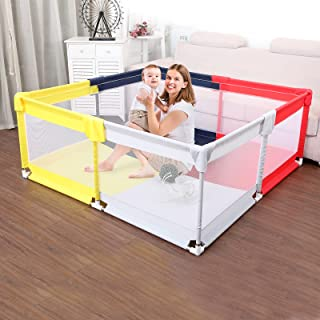 Baby Playpen Extra Large Play yard for kids Toddlers Safety Play Activity Centre Visible Mesh Anti-Slip Indoor/Outdoor Por...
