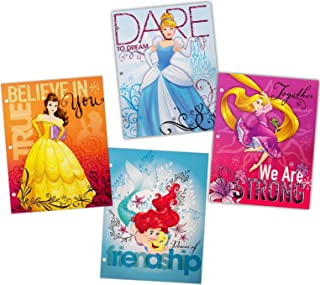 Disney Princess 3-Ring Binder Portfolio Folders with Pockets, 4-Pack