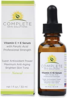 Natural Vitamin C E Serum with Ferulic and Hyaluronic Acid 1 oz