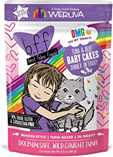 Weruva B.F.F. OMG - بهترین دوست گربه ای اوه گراوی من! کیسه های غذایی گربه و مرطوب طبیعی بدون دانه ، دستور غذاهای اصلی ماهی تن در گراو