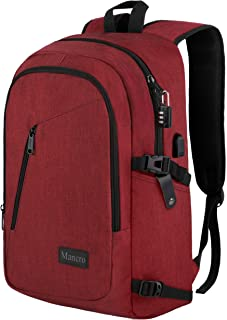 Laptop Backpack for Women, Middle High School Backpack with USB Port for School Supplies, College Accessories, Water Resistant Travel Daypack Cute Book Bag for Teens, Ladies Fit 15.6 in Computer(Red)