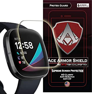 A ACE ARMOR SHIELD (6 Pack) Premium HD Waterproof Screen Protector compatible with Fitbit Versa 3 and Fitbit Sense [2020]