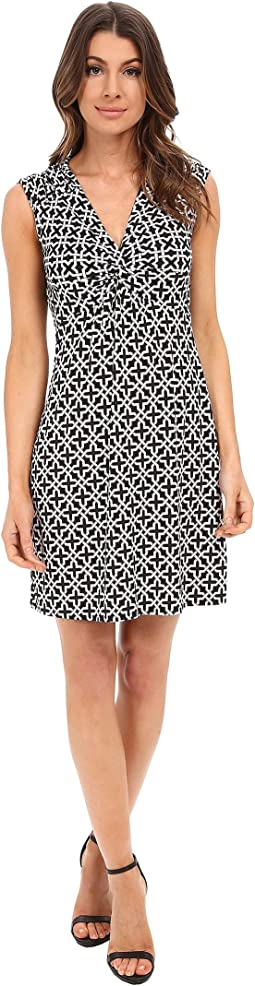 Short Sleeve Empire Waist Dress with Front Twist