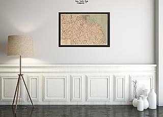 1893年 地図 南岸とノーフォーク郡 スポットハイトによる大量リリーフ | 歴史的なアンティークヴィンテージ復刻|すぐに額装可能