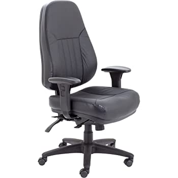 Office Hippo Leather Office Chair with Arms, High Back Office Chair with Back Support, Desk Chair for Home, Swivel, Black