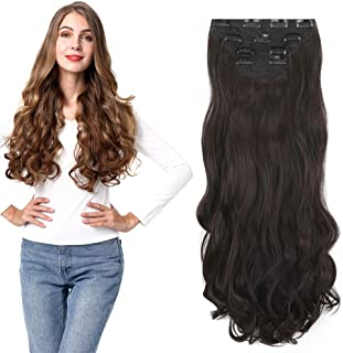 4Pcs Curly Weave Clip in Hair Extensions, Hair Pieces with 11 Clips, 24 inch Wavy Hairpieces for Women Beauty and Fashion- Dark Brown 280g Per Set
