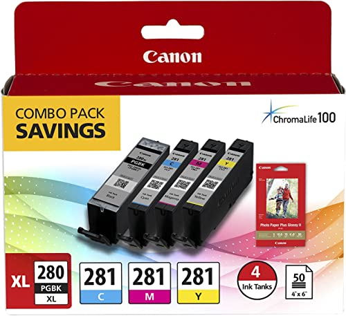 Canon PGI-280/CLI-281 Combo Ink Pack, Compatible to TR8520,TR7520, TS9120, TS8120 and TS6120 Printers