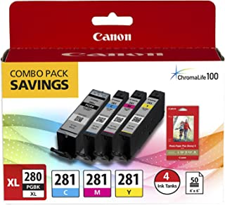 Canon PGI-280XL PGBK/CLI-281CMY, 50 Sheets PP-301 Combo Pack Compatible to TR8520, TR7520, TS9120 Series,TS8120 Series, TS...