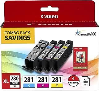 Canon PGI-280XL PGBK/CLI-281CMY, 50 Sheets PP-301 Combo Pack Compatible to TR8520, TR7520, TS9120 Series,TS8120 Series, TS6120 Series, TS9521C, TS9520, TS8220 Series, TS6220 Series
