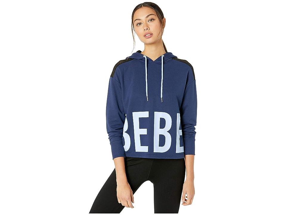 Bebe Sport Cropped Block Logo Pullover Hoodie (Sapphire) Women