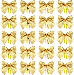 WILLBOND 144 Pieces Mini Christmas Tree Bows Xmas Tree Bowknot Ornaments for Christmas Tree Hanging Decoration Supplies (Gold)