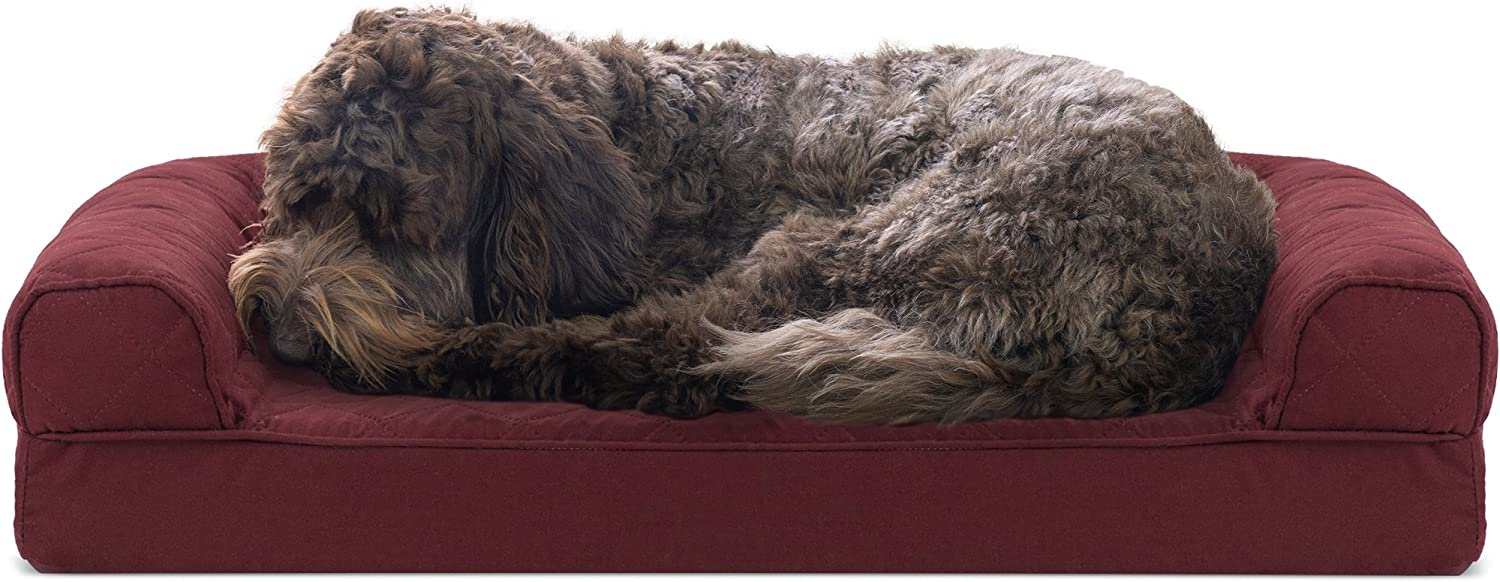 FurHaven Gel Foam Quilted Dog Couch Sofa Bed for Dogs and Cats, Wine Red, Medium