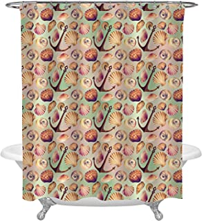 Marine Pattern Decorative Shower Curtain with Conch Shells, Clams, Rusty Anchor, Seashells on Gradient Background, Beautiful Illustrations for Ocean Theme Homr Decor, Machine Washable, 72 W x 96 L